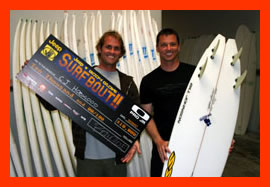 "Small shot with Bill Johnson, creator of fine Teqoph surfboards. Pronounced ""Take-off"", and is the Aramaic word for strength. Check the tail. Cool hey."