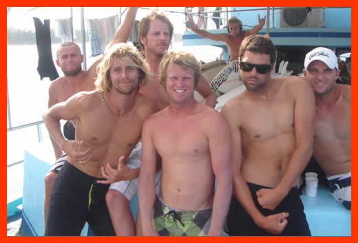 The boys on an Indo break, Ottz, Steds, Rik, DJ Teeth, Teebs, Ron, Snake