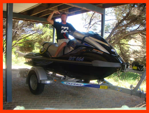 Also what happens in January is the good people at Estuary Marine in Mandurah upgrade Taj' and my' ski. Boom, this is our brand new '08 Model Yamaha Waverunner, Gee we are lucky kids …